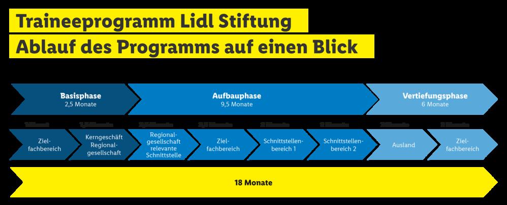 Ablauf des Traineeprogramms Lidl Stiftung Basisphase AUfbauphase Vertiefungsphase